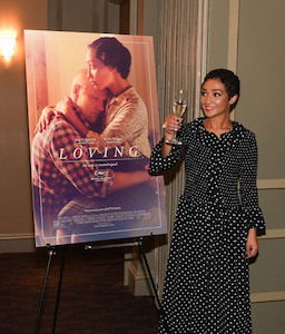 "Ruth Negga toasts her film ""Loving"""