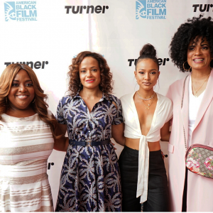 "Sherri Shepherd moderated TNT's ""Claws"" panel with Judy Reyes, Karrueche Tran & Janine Sherman-Barrois (Photo courtesy of ABFF by Shan)"