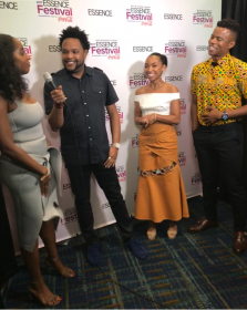 """Jawn Murray talks with """"Dear White People"""" cast members Ashley Blaine Featherson, Logan Browning and Marque Richardson"""